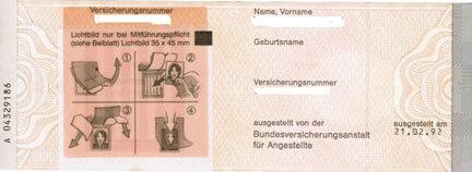 Bild von Alter Sozialversicherungsausweis Seite 2