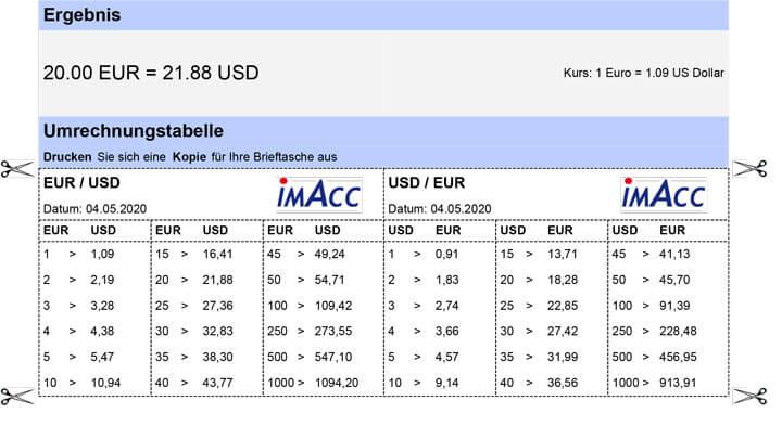 Umrechnungstabelle zum ausdrucken, Währungsumrechner, Wechselkurs mit Umrechnungstabelle für internationale Währungen